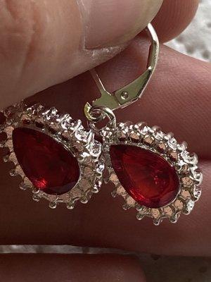 Halskette Anhänger Ohrringe mit rote Steine