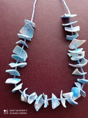 Shell Necklace gold-colored-baby blue glas