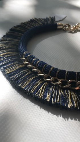 Collar azul oscuro-color oro
