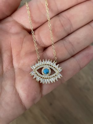 """Halskette """"Bohemian Eye"""" 925er Sterling Silber - Gold"""