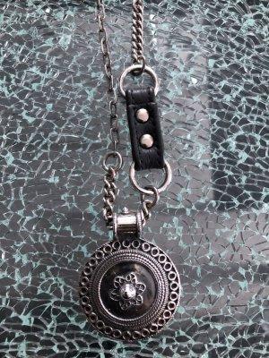 Halskette chaingang Silber/Leder