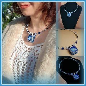 Halskette Collier mit Druzy Achat Naturstein