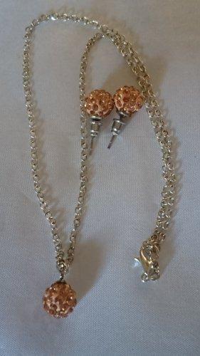 Halskette Collier und Ohrringe Orange Kugel mit Strasssteine