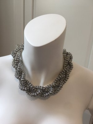 Halskette geflochten silber