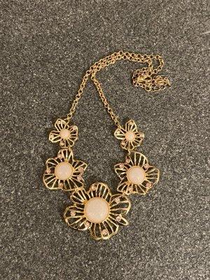 Halskette Gold mit Blumen und Schmucksteinen