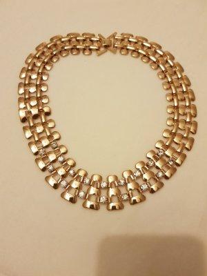 Halskette golden mit Zirkoniasteinen unbenutzt Halsschmuck