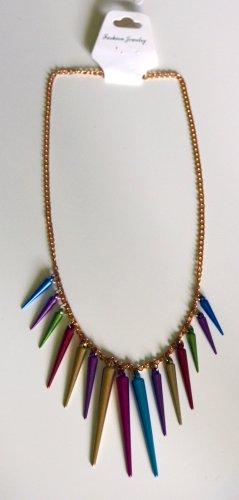 Halskette goldfarben, mit Spitzen mehrfarbig,