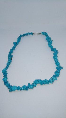 Halskette Halbedelstein hellblau Trommelsteine Ethno-Stil