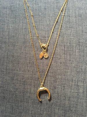 Halskette Kette Gold Mond Münze Halbmond Festival Sommer