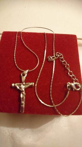 Halskette Kreuz mit Jesus extra zarte Silberkette