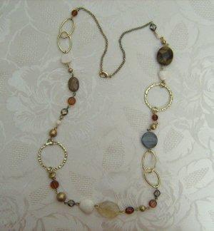 Halskette Lagenlook Goldfarben Naturfarben Steine Perlen