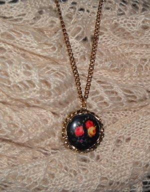 Halskette lange Kette mit Anhänger Blumen Blumenanhänger h&m schwarz bunt Rosen goldfarben NEUu
