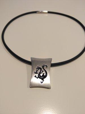Halskette mit Anhänger Drachen Asia-Style schwarz silber