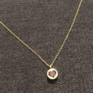 Halskette mit Anhänger Herz rot gold aus Edelstahl