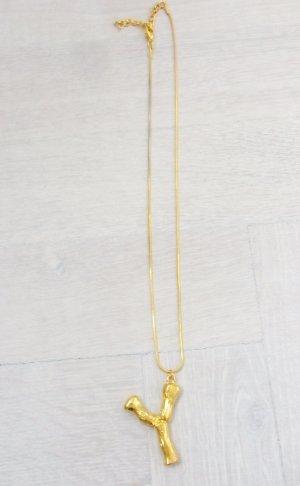 Halskette mit Buchstaben Y, variable Länge, kräftig gold farbend, NEU