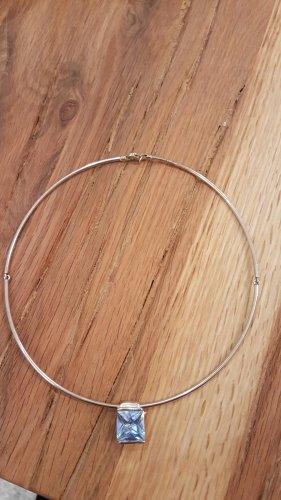 Halskette mit Glitzerstein  Silber