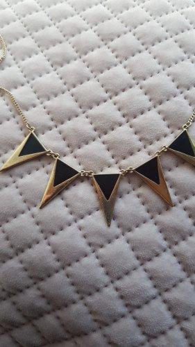 Halskette mit gold-schwarzen Zacken