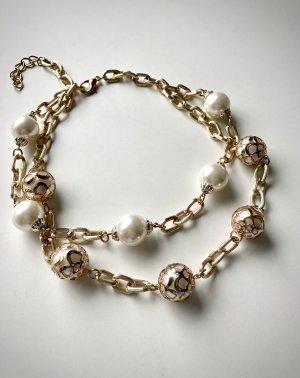 Halskette mit großen Perlen Statementkette gold weiß creme