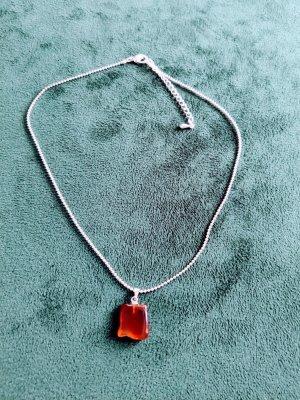 Necklace silver-colored-cognac-coloured