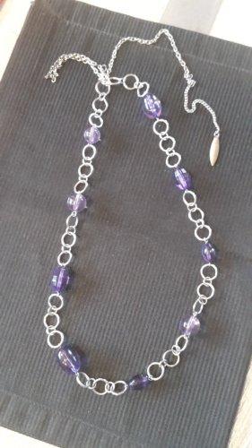 Cadena de eslabón color plata-lila