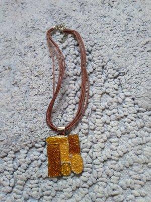 Halskette mit Metallanhaenger , goldfarben, Neu