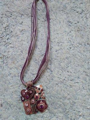 Halskette mit Metallanhaenger , rosa , Neu