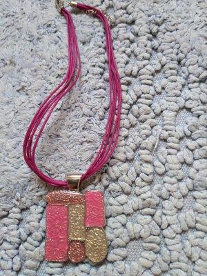 Halskette mit Metallanhaenger rosa Neu