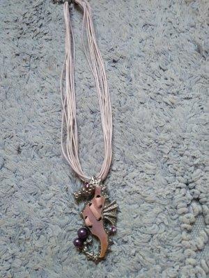 Halskette mit Metallanhaenger , rosa, Neu
