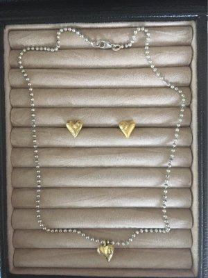 Halskette mit Ohrstecker vergoldet