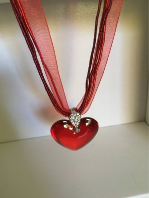 Collier Necklace red-silver-colored