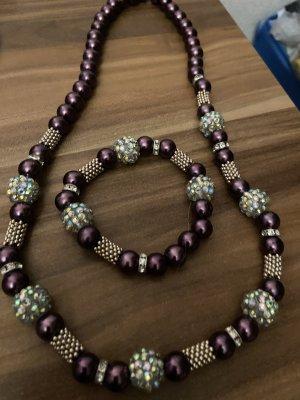 Pearl Necklace silver-colored-black