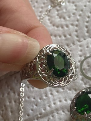 Halskette Ohrringe Ring gr 18/57 mit Steine neu