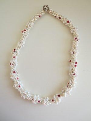 Halskette Perlen weiß-rot