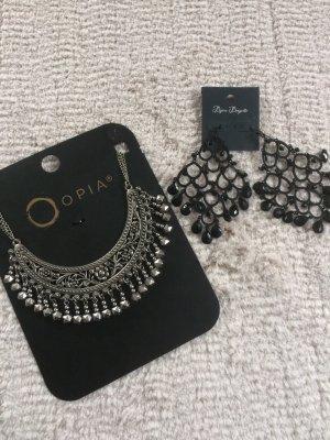 Halskette plus Ohrringe / Silber - schwarz / NEU