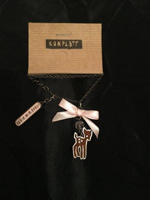 Halskette Reh Treue rosa Schleife Strass Metall adelheid bleib mir treu