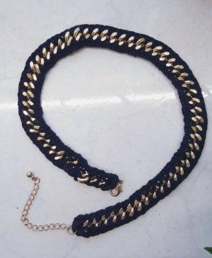 Halskette Schwarz Gold