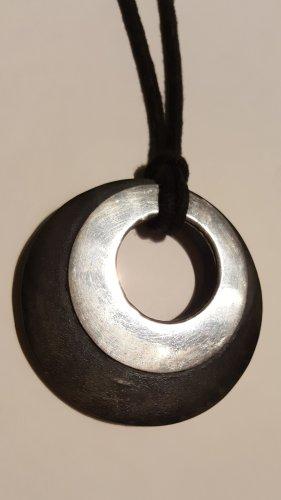 Halskette schwarz Holz , silber
