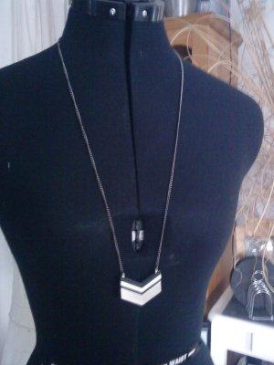 Halskette schwarz silber