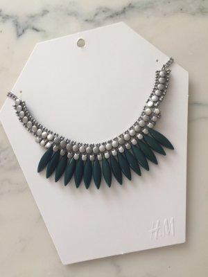 Halskette / Silber-dunkelgrün / NEU