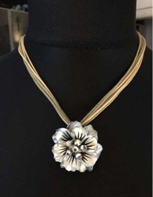 Halskette Silber Stoffband