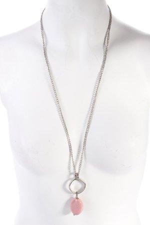 Halskette silberfarben mit rosa Stein