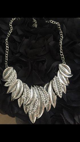 Halskette Statementkette Blätter altsilber