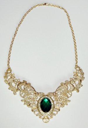 Halskette und Anhänger goldfarben,