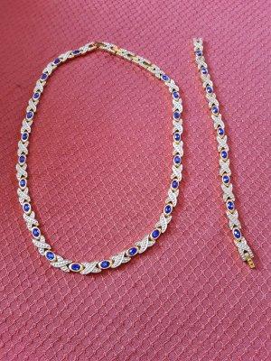 Naszyjnik złoto-niebieski