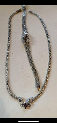 Collar estilo collier color plata-rojo oscuro