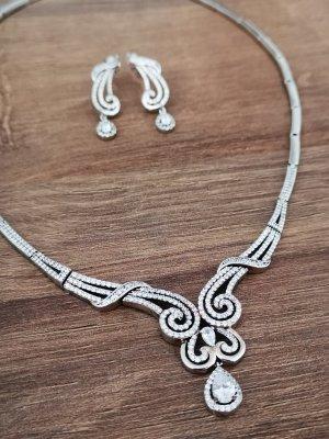 Halskette und Ohrringe SET Silber