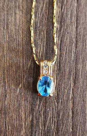 Halskette Vintage mit Anhänger Blau