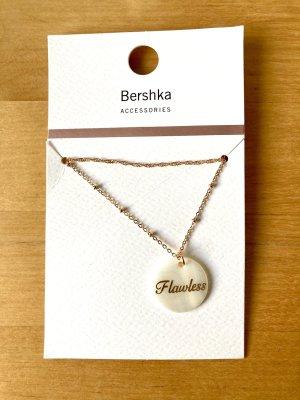 Bershka Collar de conchas color oro-blanco puro