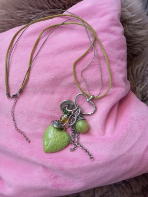 unknown Necklace silver-colored-lime-green