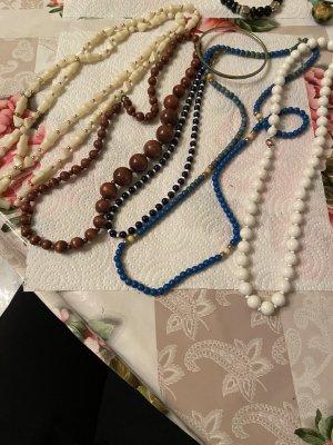 Collana di perle marrone-argento